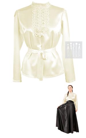 Картинка Купить женскую блузку  в русском стиле. Изделие выполнено из креп-сатина. Воротничок-стойка и перед блузки украшены ажурной декоративной тесьмой.