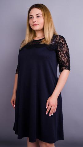 Лайза. Практичное платье больших размеров. Синий.