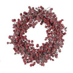 Венок с ягодами 55см House of Seasons красный заснеженный