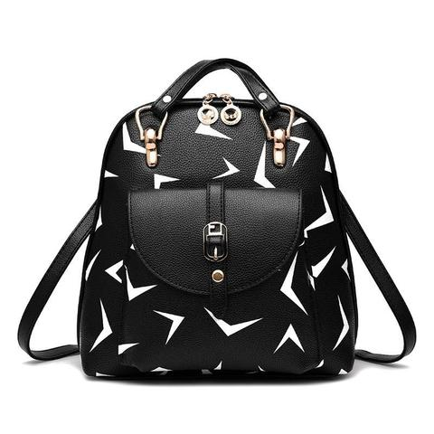 Средний стильный женский повседневный рюкзак черного цвета с рисунком из экокожи Dublecity 4698-4