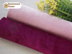 Бархат ЛЮКС для бантиков на флисовой основе розовый (уценка)
