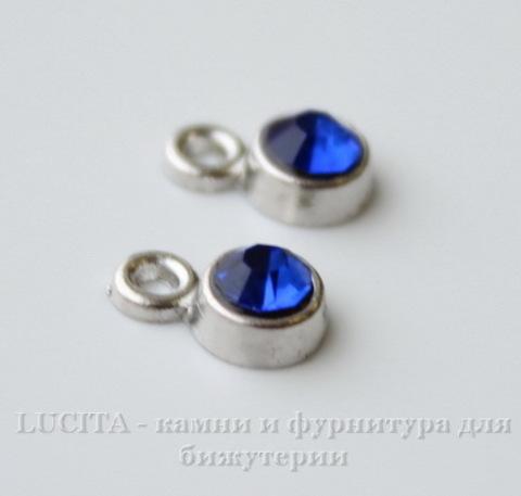 Подвеска маленькая с синим фианитом (цвет - античное серебро) 8х5 мм