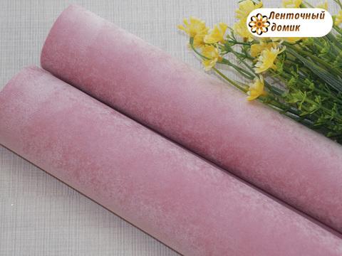 Бархат для бантиков на флисовой основе розовый