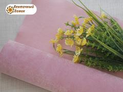 Бархат для бантиков на флисовой основе розовый оборот