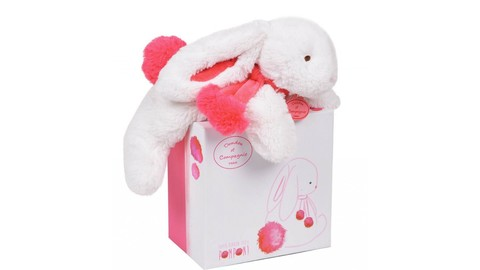 Doudou et Compagnie. Pompon MM rabbit strawberry 25cm