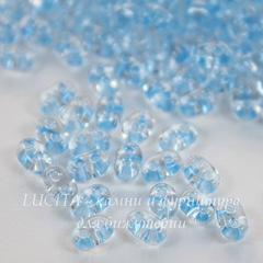 38236 Бисер Preciosa Твин (Twin) 5х2,5 мм Кристалл с пастельно-голубой перламутровой линией