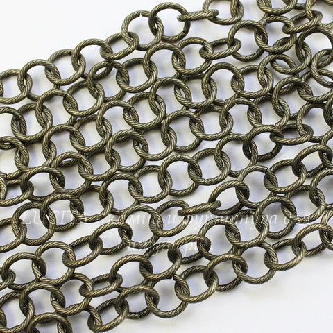 Винтажная цепь текстурная с круглым звеном 10 мм (оксид латуни), 10 см