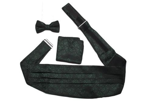 Камербанд (кушак, пояс) Angelo Roma для смокинга+бабочка+платок черный зеленый рисунок