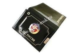 Обложка 2в1 из натуральной гладкой кожи с отделением для автодокументов и удостоверения сотрудника ДПС