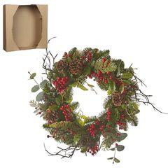 Венок украшенный ягодами 40см House of Seasons зеленый