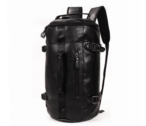 Мужской рюкзак трансформер из кожи черного цвета