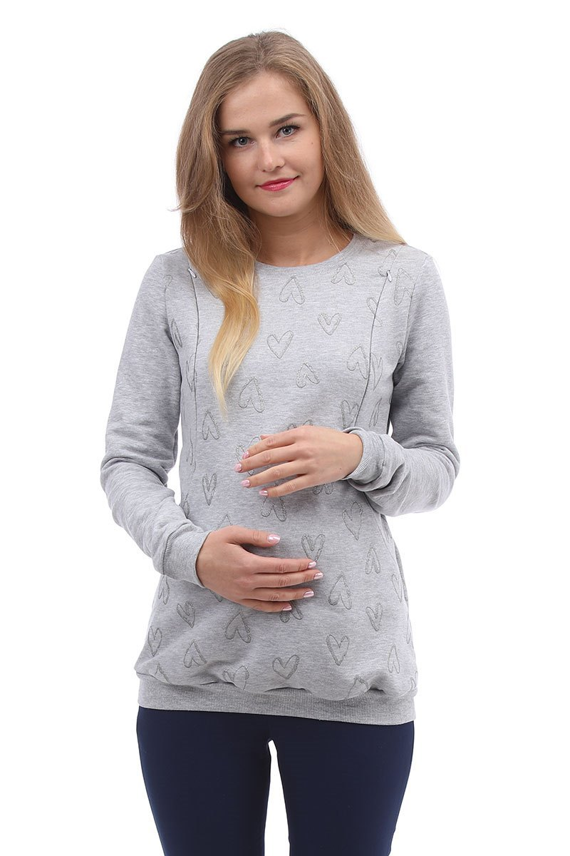 Джемпер для беременных и кормящих 10000 серый