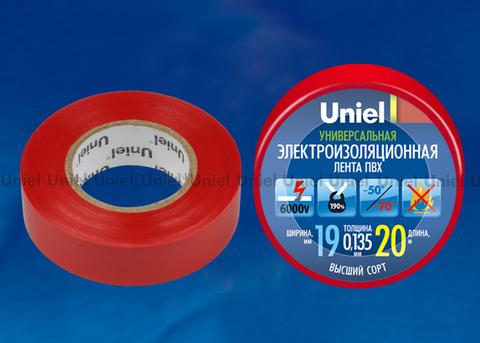 UIT-135P 20/19/01 RED Изоляционная лента Uniel 20м, 19мм, 0,135мм, 1шт, цвет Красный