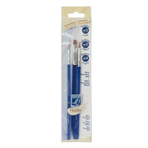 Набор кистей Lefranc&Bourgeois Hobby X3 [2/2/4], синтетика, короткая ручка