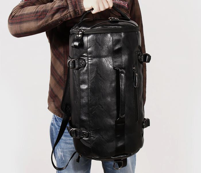 BAG427-1 Мужской рюкзак трансформер из кожи черного цвета фото 03