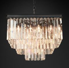 1920S Odeon Clear Glass Fringe Square 3-Tier Chandelier
