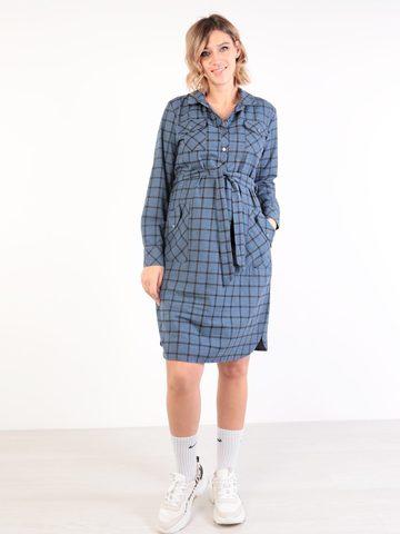 Евромама. Платье-рубашка для беременных и кормящих, синий