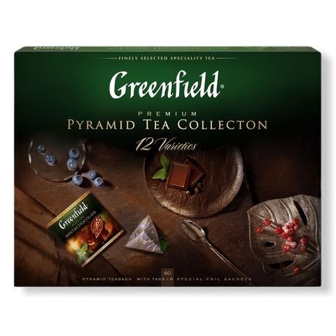 Greenfield ГРИНФИЛД. Подарочный набор чая 12 видов,  в пирамидках, пакетированный, 60 пирамидок по 5 каждого вида