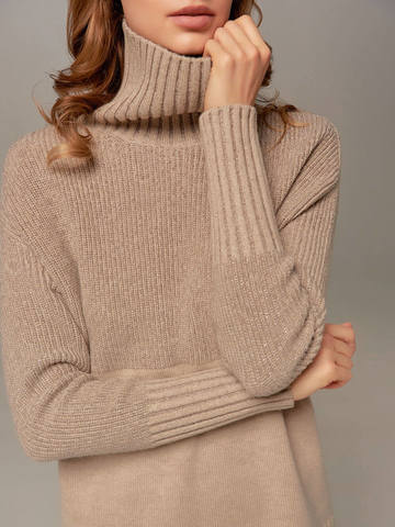Beige female sweater made of wool and cashmere - фото 2