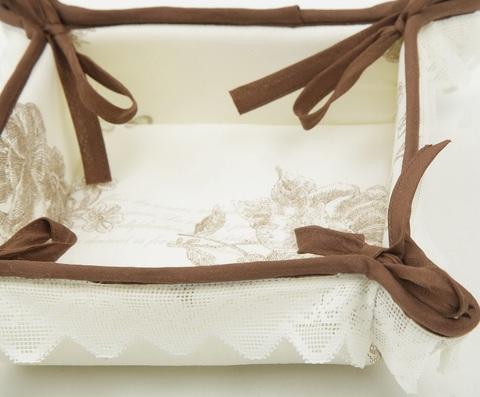 Набор полотенец 3 шт Old Florence Амели и корзинка с коричневой оборкой