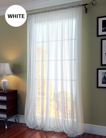 Однотонная вуаль на шторной ленте Сесиль белый