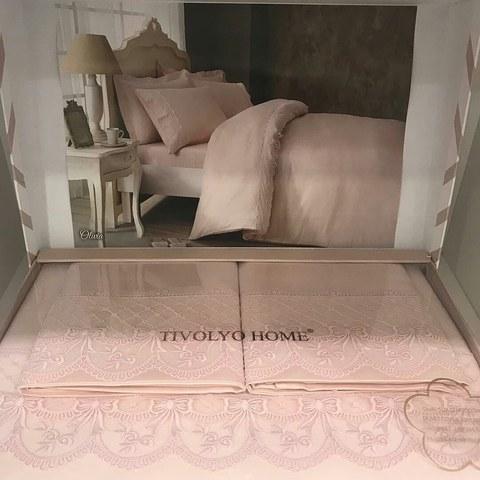 Постельное белье OLIVIA розовый с кружевом deluxe TIVOLYO HOME Турция