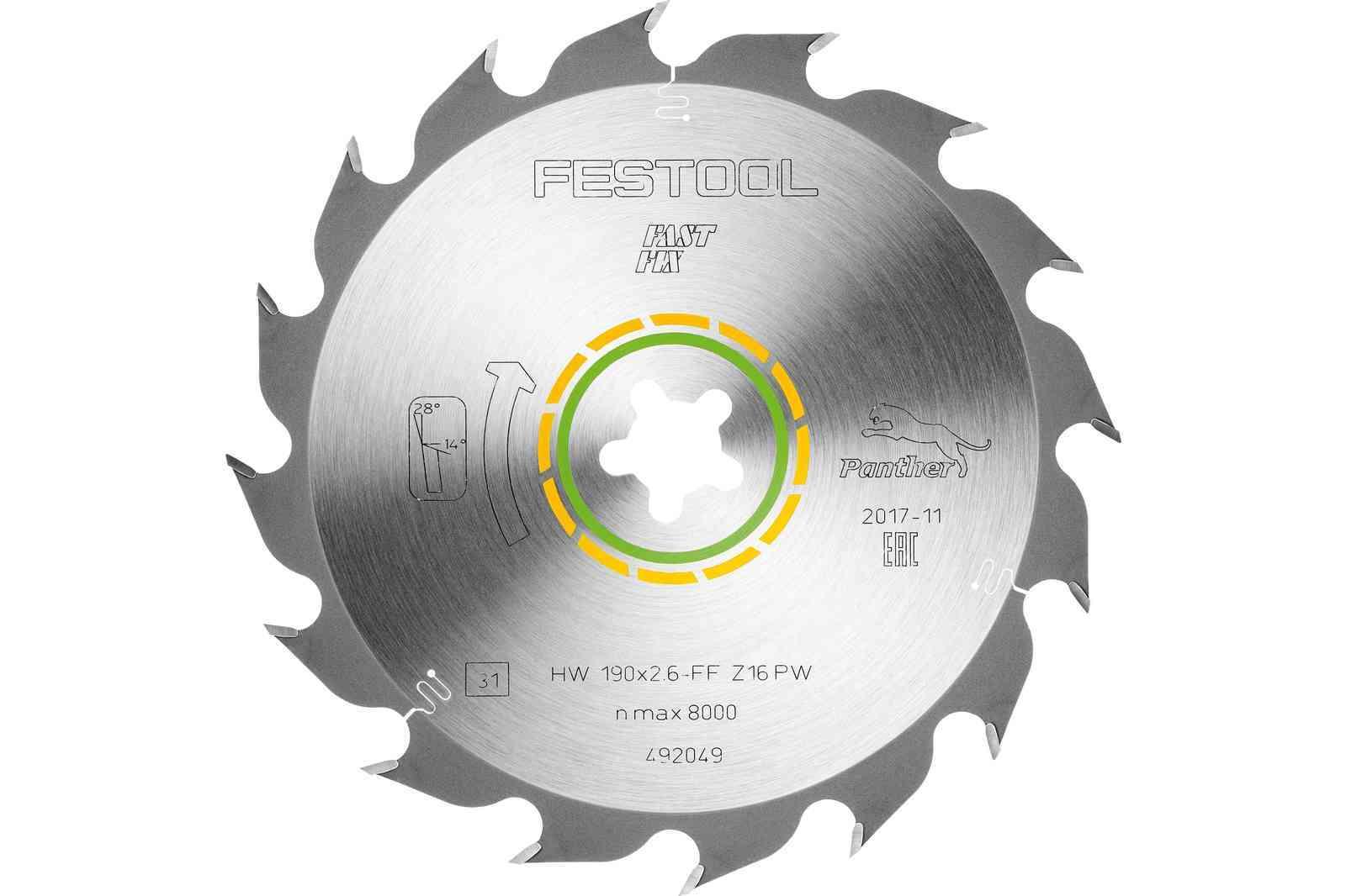 Диск пильный 190x2,6 FF PW16 Festool 492049