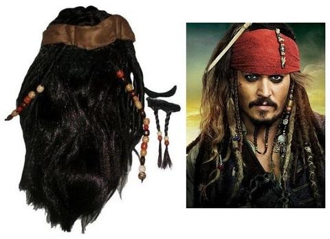 Пираты Карибского моря парик с банданой усы и бородка Джека Воробья