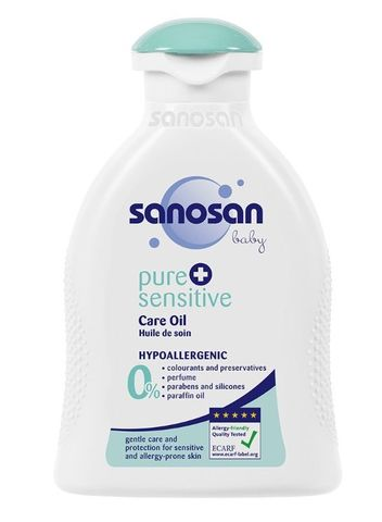 Sanosan. Детское масло для ухода за чувствительной кожей Sanosan Pure+Sensitive, 200 мл
