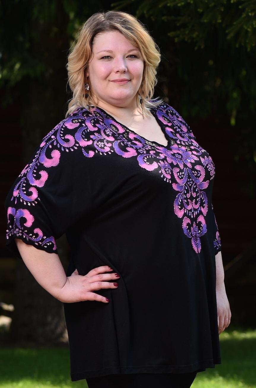 Блузон РИЧ  гранд мама , цвет :черно/ мульти