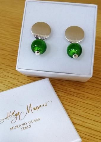 Серьги 2019 Perla Metallo Rotondo Grande Emerald