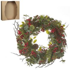 Венок украшенный ягодами 50см House of Seasons зеленый