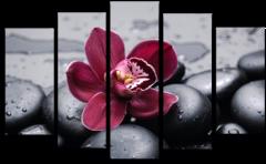 """Модульная картина """"Красная орхидея"""""""