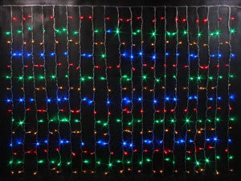 Гирлянда светодиодный занавес 2*1,5, с контроллером, цвет Мульти, провод прозрачный