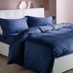 Простыня на резинке 160x200 Сaleffi Raso Tinta Unito с бордюром сатин темно-синяя