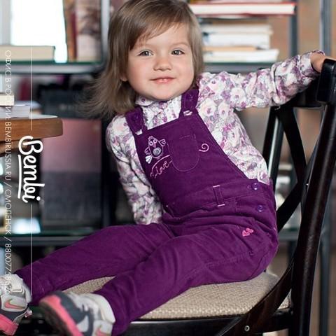 ПК132 Полукомбинезон для девочки микровельвет