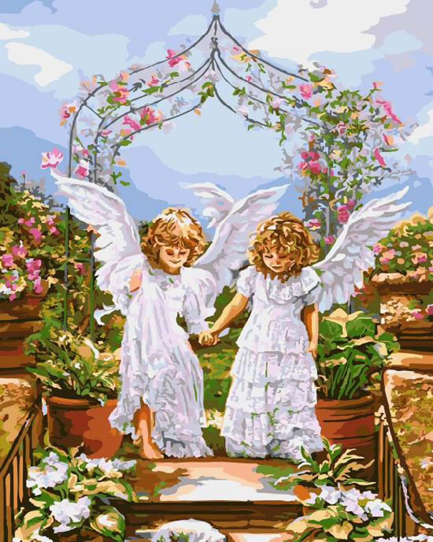 Картина раскраска по номерам 30x40 Два ангела держатся за ...