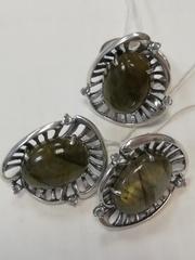 Чаша (кольцо + серьги из серебра)