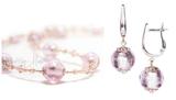 Комплект Примавера розовый (серьги на серебре, ожерелье)