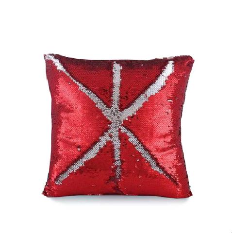 Наволочка для интерьерной подушки, с пайетками, двухцветная Оттенок: серебристо-красный