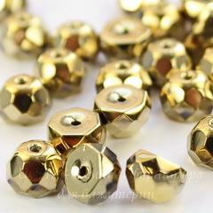 Бусина Hill Полусфера с огранкой, 8 мм, золотая