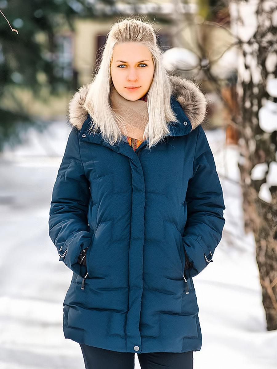 Joutsen пуховик Jenny с мехом темно-синий - Фото 1