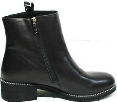Полусапоги весенние женские Jina 6845 Leather Black.