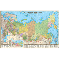 Настенная карта РФ политико-административная 1:5,5 млн., на отвесах