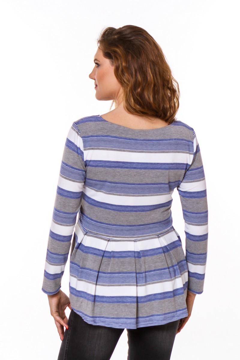 Блузка 08753 синий/серый