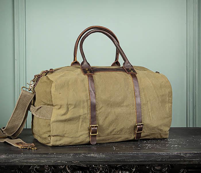 BAG500-3 Тканевая дорожная сумка зеленого цвета с ремнем на плечо фото 02