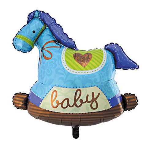 Фольгированный шар «Лошадка»,голубая 91 см
