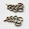 Винтажный декоративный элемент - Пара ажурных листочков 14х10 мм (оксид латуни) ПАРА