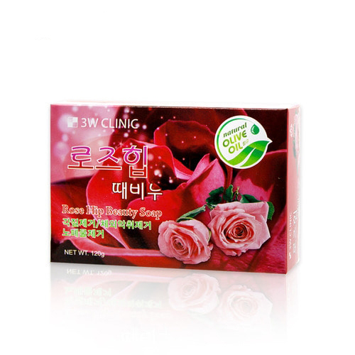 3W Clinic Мыло кусковое Роза Rose Hip Soap, 120 г