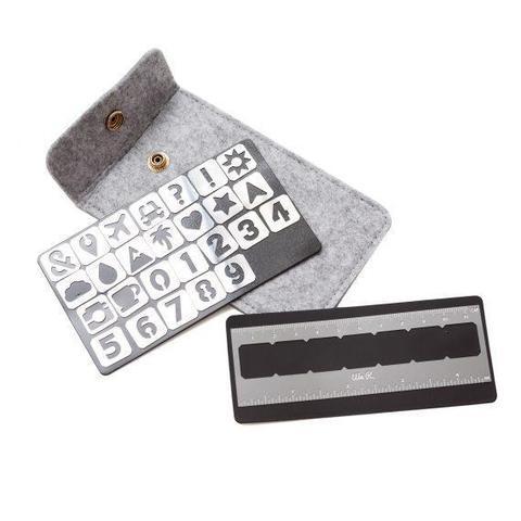 Набор магнитных трафаретов с линейкой в фетровом футляре We R Memory Keepers Journal Magnetic Stencils Symbol